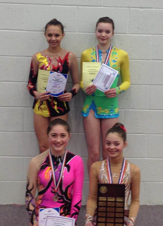 West Midlands Championships: Back row: Eleanor, Jessica (Junior, Bronze Medalist) Front Row: Connie (Junior Siver Medalist); Shania (Junior Gold Medalist)