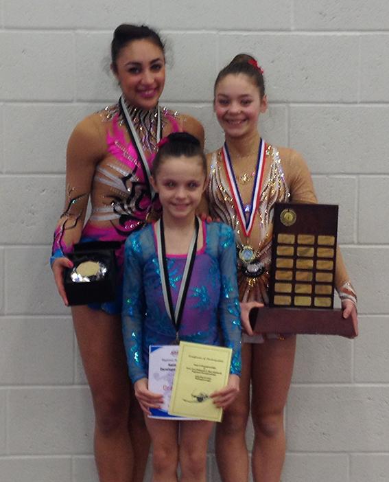 Zone C Medalists: Back Row: Mimi (Senior Champion); Shania (Junior Champion) Front: Emily ( U.11 Bronze medalist & West Midlands U.11 Silver Medalist )