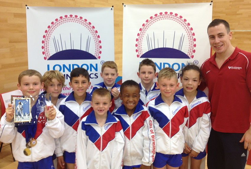 Team coach Luke Folwell with London Open Level 1 & 2 Competitors from City of Birmingham