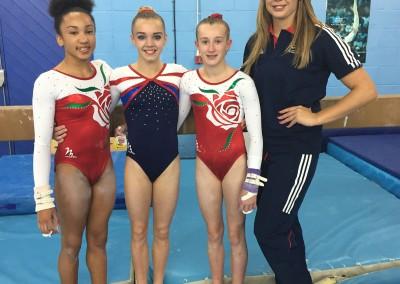 Rachel, Megan and Hannah and Coach Jody Kime