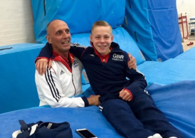 Hamish with technical director, Eddie Vanhoof after being treated for his foot fracture